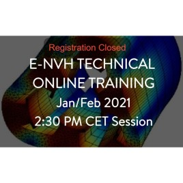 e-NVH technical online training Jan/Feb 2021